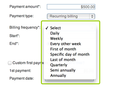 Setup billing frequency for recurring payments