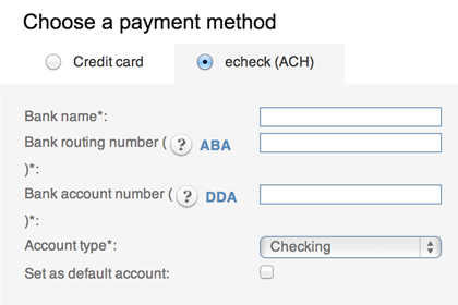 Enter account info and accept electronic checks