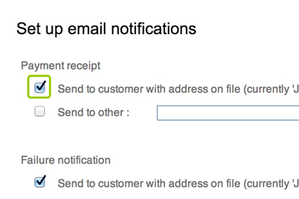 Set up email notifications to automate payment reminders and receipts.