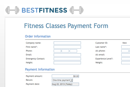 Create an online payment form with your branding and company colors.
