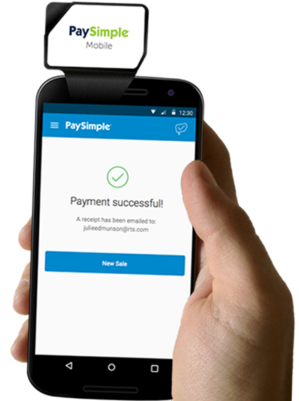 With the PaySimple mobile app and a credit card reader, you can accept payments anywhere, anytime.