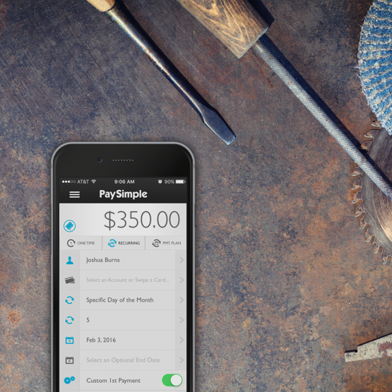 Accept payments on the go with the PaySimple app on iOS and Android devices.