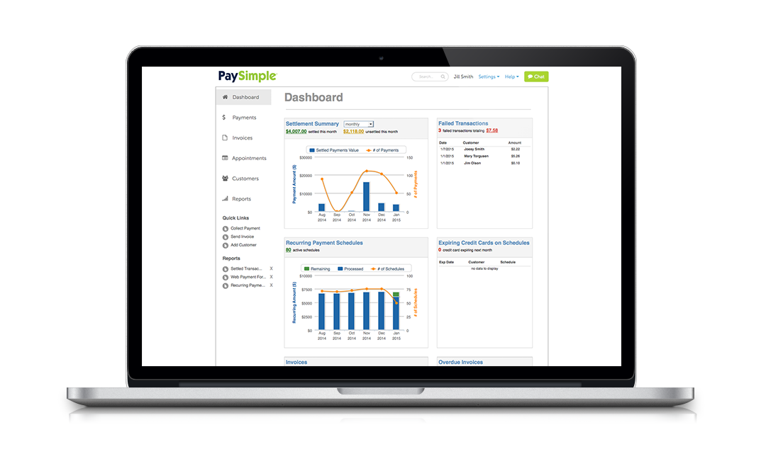 Know in an instant how well your business is doing with the PaySimple dashboard.