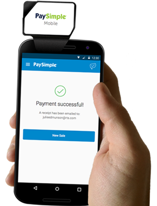Accept payments on the go with a mobile swiper and the PaySimple mobile app