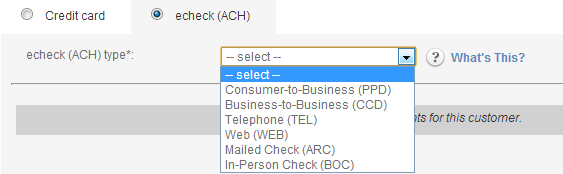 Select an ACH type