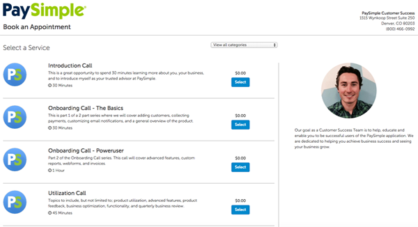 booking page from BookSimple